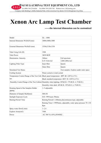 solar simulation test chamber / environmental / photostability / with xenon arc lamp XL-1000