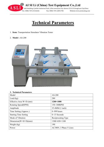 vibration tester / for packaging / for electrical appliances / for cable terminals  AS-200