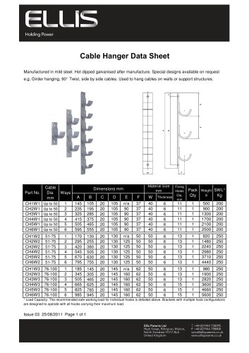 Cable Hanger Data Sheet
