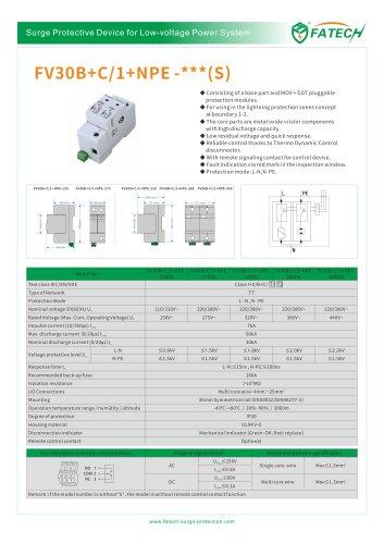 FATECH 60kA surge arrester FV30B+C/1+NPE-275 for AC power system