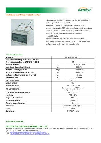 FATECH intelligent 3 phase type 1 surge arrester box type iSPD50B/4-255TESL