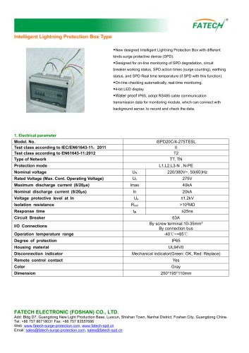 FATECH INTELLIGENT 3 PHASE TYPE 2 SURGE PROTECTOR BOX TYPE iSPD20C/4-255TESL