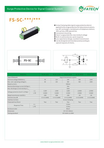 FATECH Screw Clamping data Signal surge arrester FS-SC-12/10 for applied to the surge protection for telecommunications, e.g. SPC exchangers