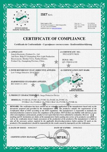 FATECH surge arrester CE certificate of ac spd