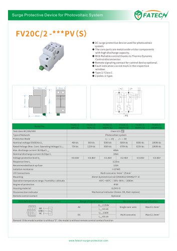 FATECH surge arrester FV20C/2-150PV for protecting PV system