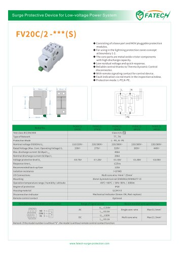 FATECH surge arrester FV20C/2-320 for protection of AC system