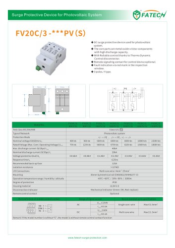 FATECH surge arrester FV20C/3-1000PV S for DC Solar protection