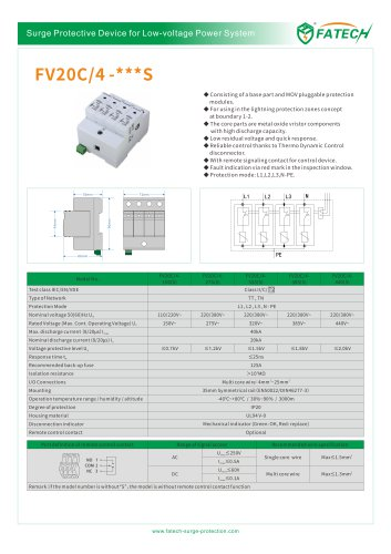 FATECH surge arrester FV20C/4-150S for power supply system