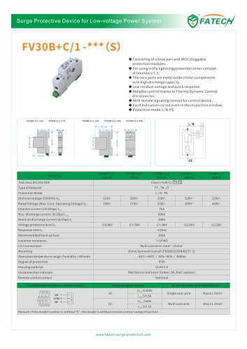 FATECH surge arrester FV30B+C/1-275S for power supply system