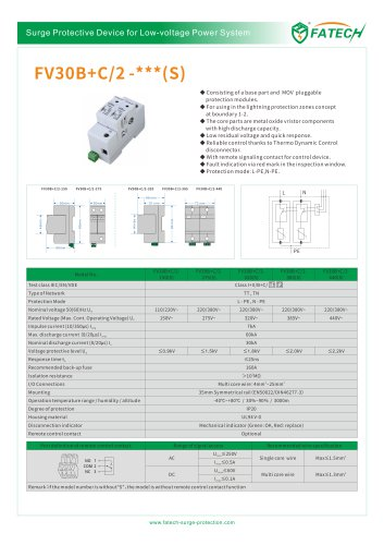 FATECH surge arrester FV30B+C/2-320S for 1 phase ac power