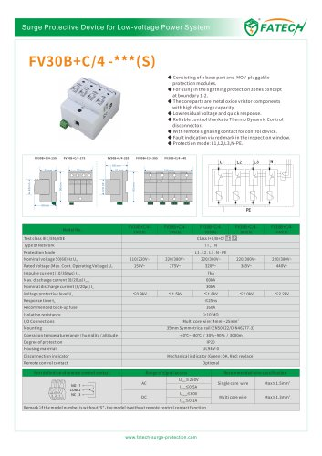 FATECH surge arrester FV30B+C/4-150 for protecting power supply