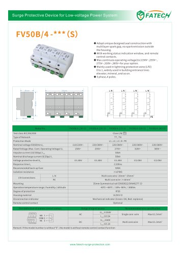 FATECH surge arrester FV50B/4-275 for AC power supply system