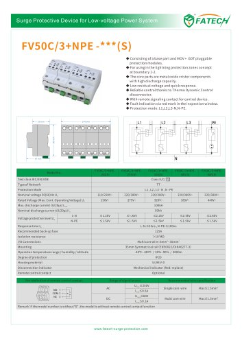 FATECH surge arrester FV50C/3+NPE-275 for 3 phase AC power supply