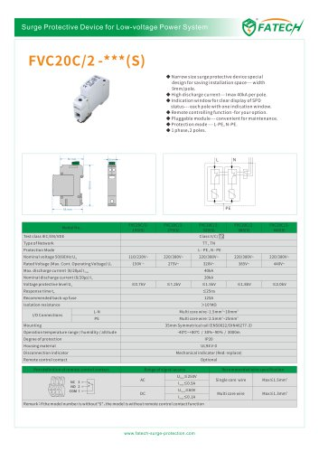 FATECH surge arrester FVC20C/2-275 for protection of AC Power
