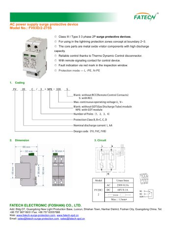 FATECH Surge Protector FV03D/2-275S with remote control contact Imax 6kA