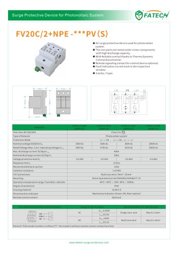 FATECH surge protector FV20C/2+NPE-xxx PVS for solar photovoltaic system