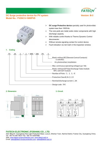 FATECH TUV certified DC surge protector 1000V with remote control contact FV20C/3-1000PVS