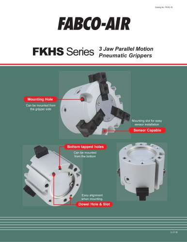 FKHS Series 3 Jaw Parallel Motion Pneumatic Grippers