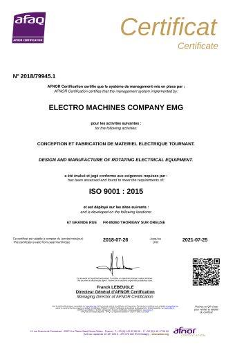Attestation ISO 9001-2015