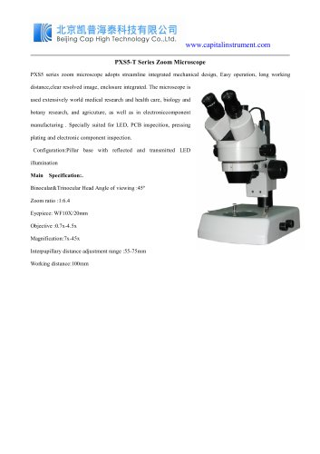 PXS5-T Series Zoom Microscope