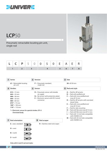 LCP50_Pneumatic retractable locating pin unit, single rod