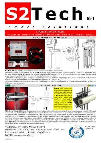 SHORT FORM CATALOG TRANSDUCERS - LOAD OVERLOAD MEASURING SYSTEMS - INDUSTRIAL MEASURING SYSTEMS
