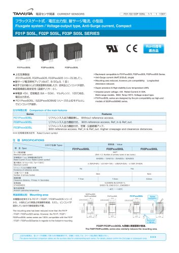 Fluxgate system/ Voltage-output type, Anti-surge current, compact F01P S05L, F02P S05L, F03P S05L series_F01L