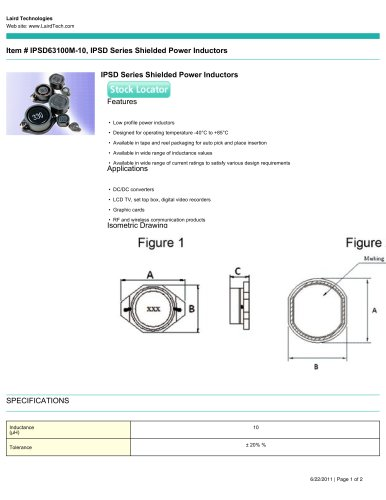 IPSD Series Shielded Power Inductors