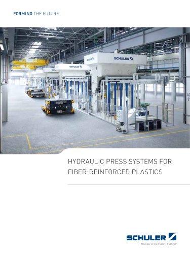 Hydraulic press systems for fiber-reinforced plastics