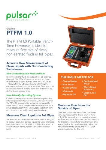 PTFM 1.0 Portable Transit Time Flow Meter
