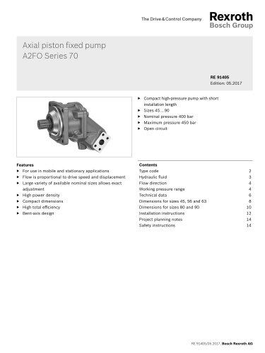 Axial piston fixed pumpA2FO Series 70
