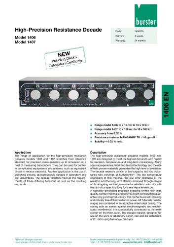 Data Sheet - High-Precision Resistance Decade Model 1406,  Model 1407