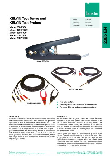 Data Sheet - KELVIN-Test Tongs and Test Probes