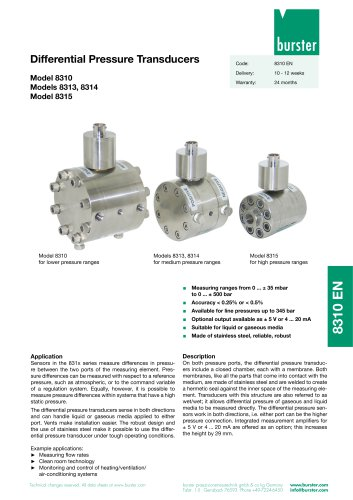 Differential Pressure Transducers Model 8310,  Models 8313, 8314,  Model 8315
