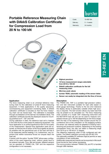 Portable Reference Measuring Chain for Compression Load from 20 N to 100 kN