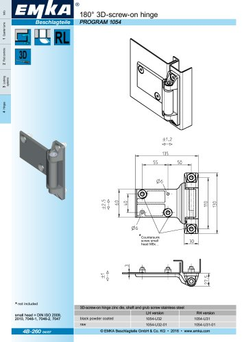180 ° 3D screw-on hinge