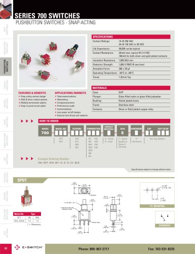 700 Series Snap-Acting Push Button Switches
