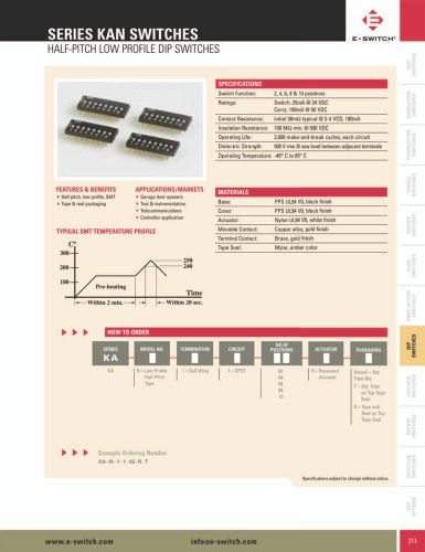 KAN Series Half-Pitch Low Profile Dip Switches