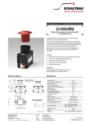 Emergency disconnect switch for industrial trucks