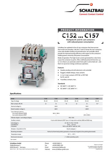 Flyer Cam contactors C152...C157 with coil controller