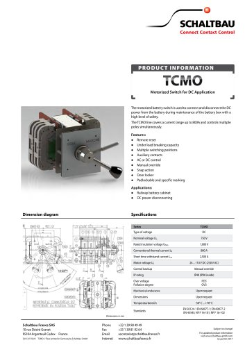 Motorized battery switches for DC, TCMO series