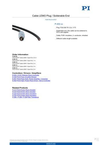 P-202.xx Cable LEMO Plug / Solderable End For PICA HVPZT