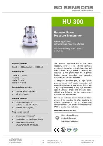 data sheet HU 300