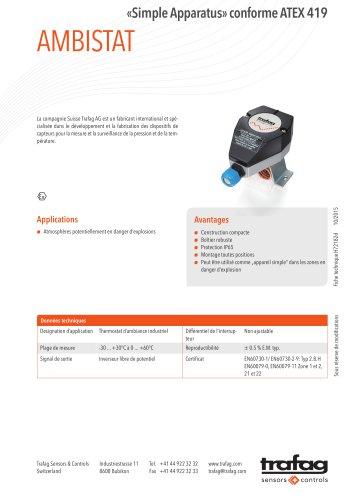 Fiche technique «Simple Apparatus» conformity to ATEX 419