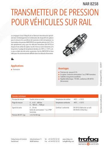 Transmetteur de pression pour véhicules sur Rail NAR 8258