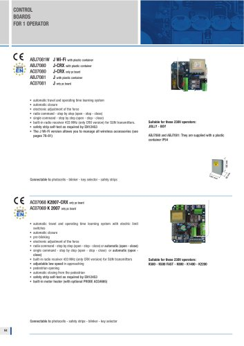 ELECTRONIC BOARDS FOR SHUTTERS AND SLIDING GATE