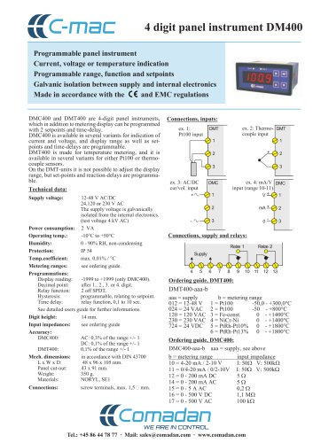 4 digit panel instrument DM400