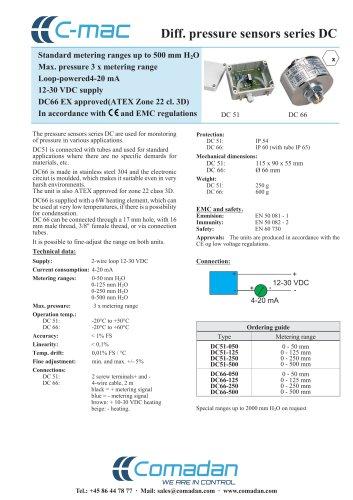 Diff. pressure sensors series DC