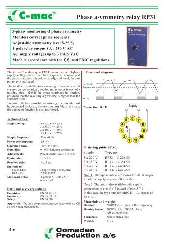 Phase asymmetry relay RP31