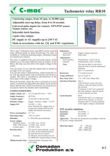 RR10, tachometer relay